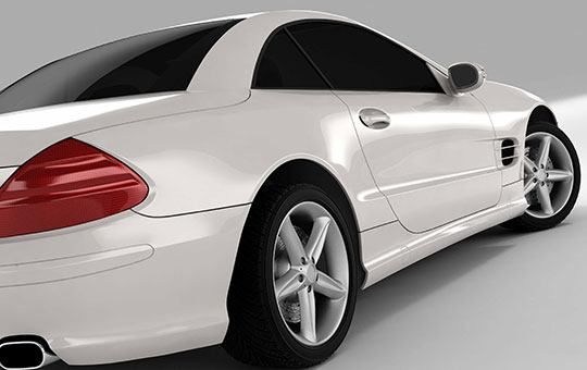 Side view of a white sports car