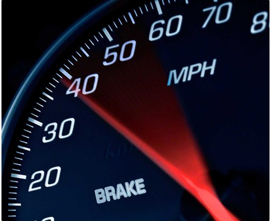 Close-up of a car's speed meter