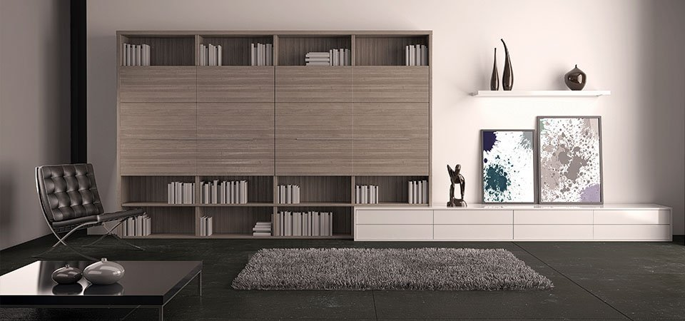 Stylish interior with a large bookcase