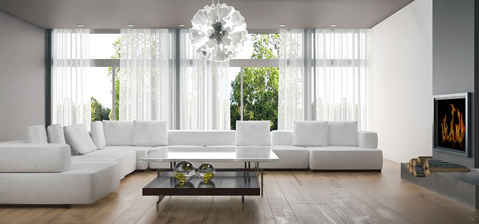 Modern living room with a large sofa