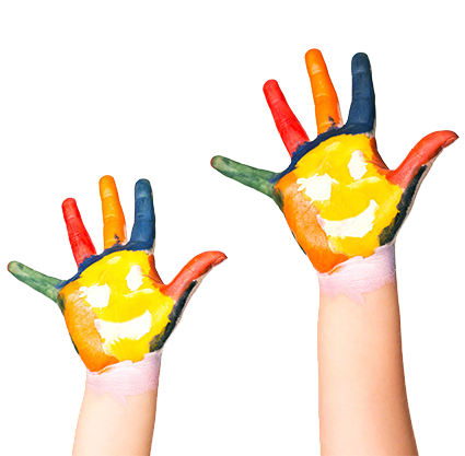 Two painted colourful hands