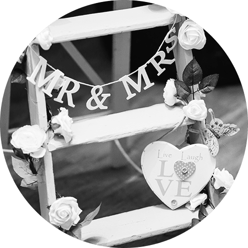 Wedding decoration ladder with flowers