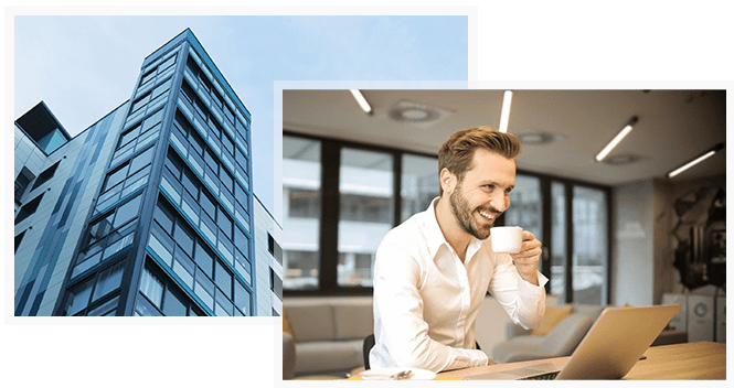 Business building and a smiling businessman drinking coffee in front of a laptop
