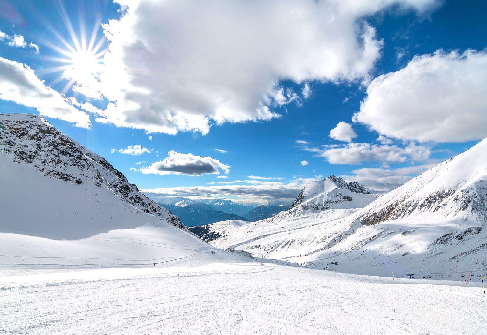 Snowy mountains landscape