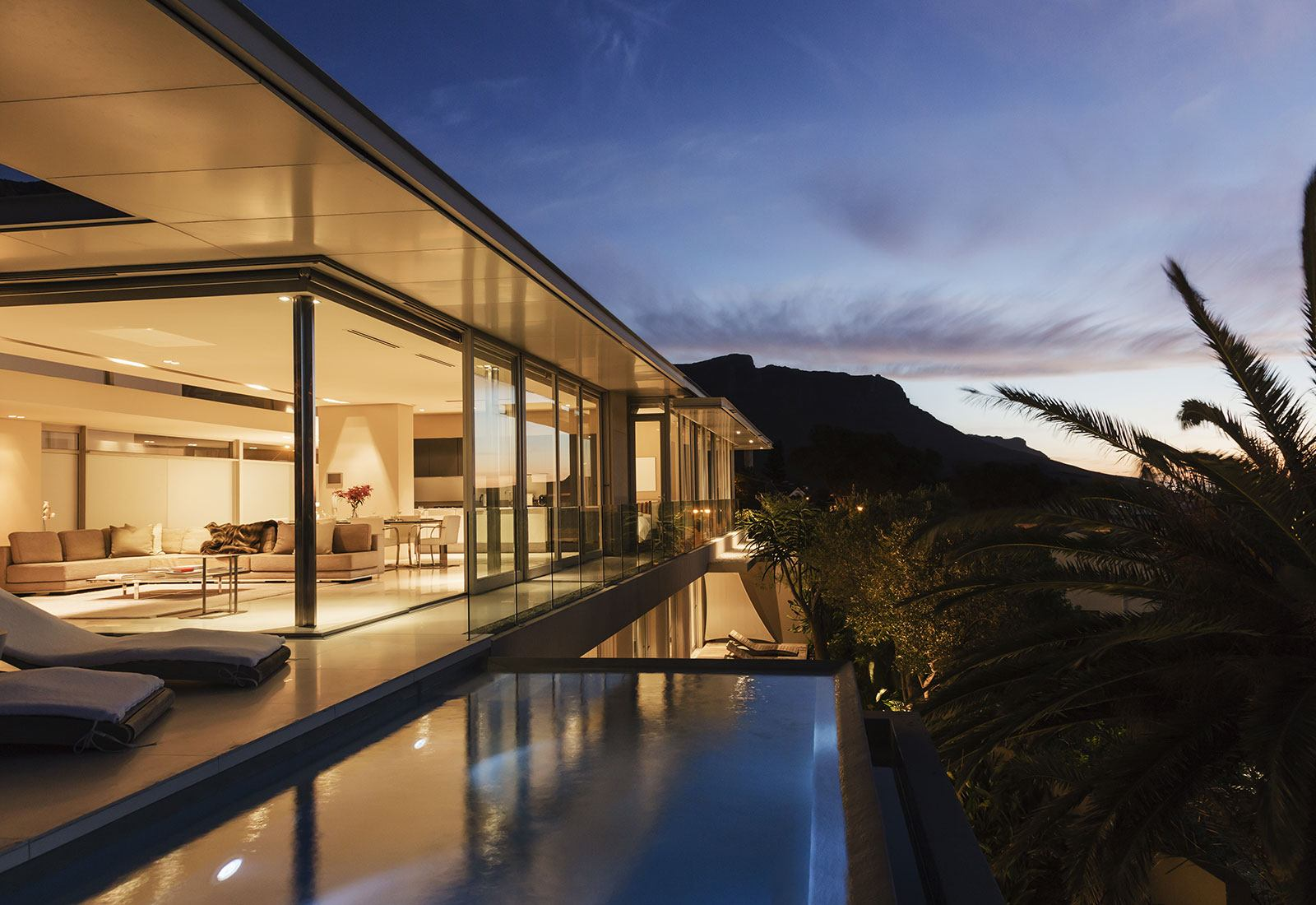 Modern building with an outside pool
