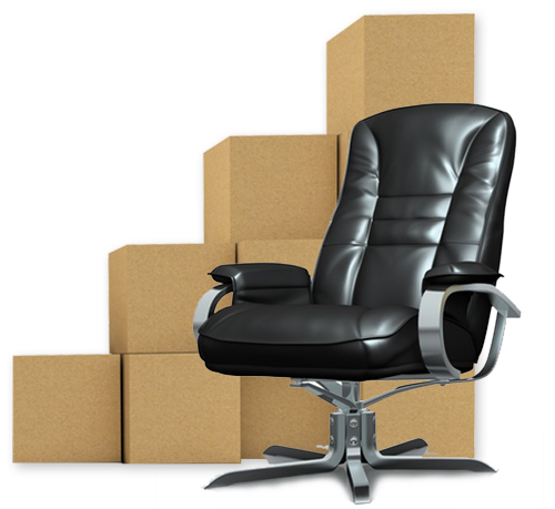 Office chair in front of stack of cardboard boxes