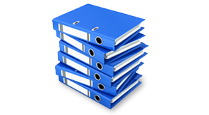 Pile of blue folders